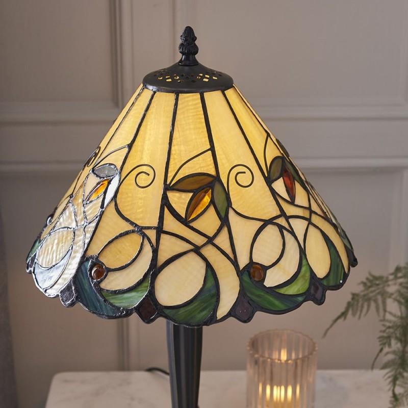 Interiors1900-64195 - Jamelia - Tiffany Glass & Dark Bronze Small Table Lamp