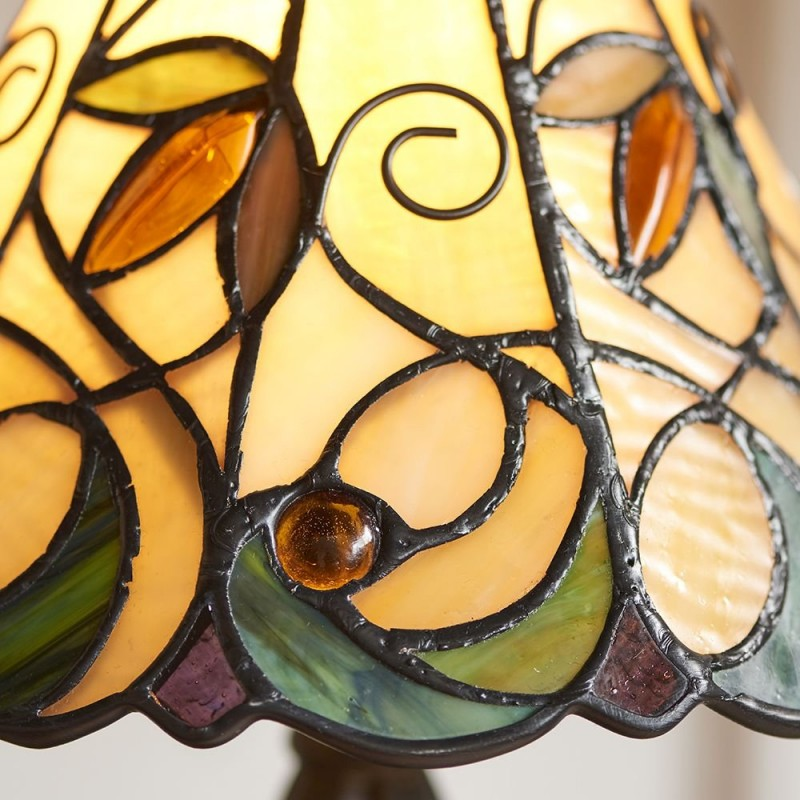 Interiors1900-64196 - Jamelia - Tiffany Glass & Dark Bronze Mini Table Lamp
