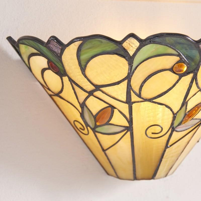 Interiors1900-64198 - Jamelia - Tiffany Glass & Black Wall Lamp