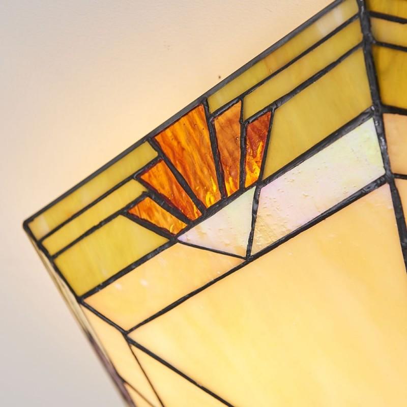 Interiors1900-64284 - Nevada - Tiffany Glass & Dark Bronze Flush
