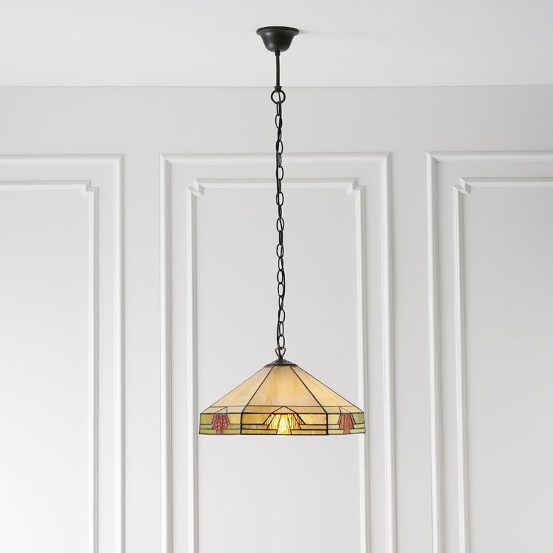 Interiors1900-64285 - Nevada - Tiffany Glass & Dark Bronze Pendant