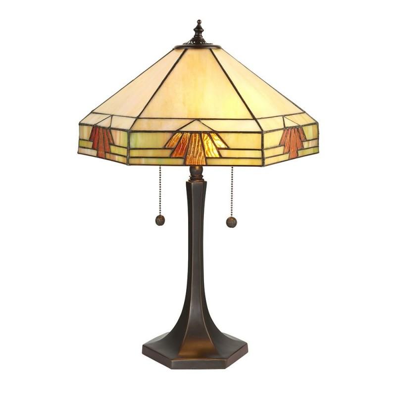 Interiors1900-64286 - Nevada - Tiffany Glass & Dark Bronze Medium Table Lamp