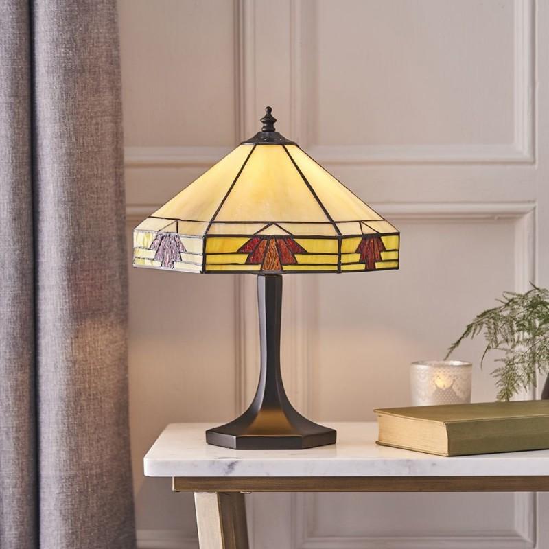 Interiors1900-64287 - Nevada - Tiffany Glass & Dark Bronze Small Table Lamp