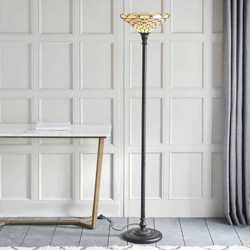 Interiors1900-64299 - Pearl - Tiffany Glass & Dark Bronze Uplighter Floor Lamp