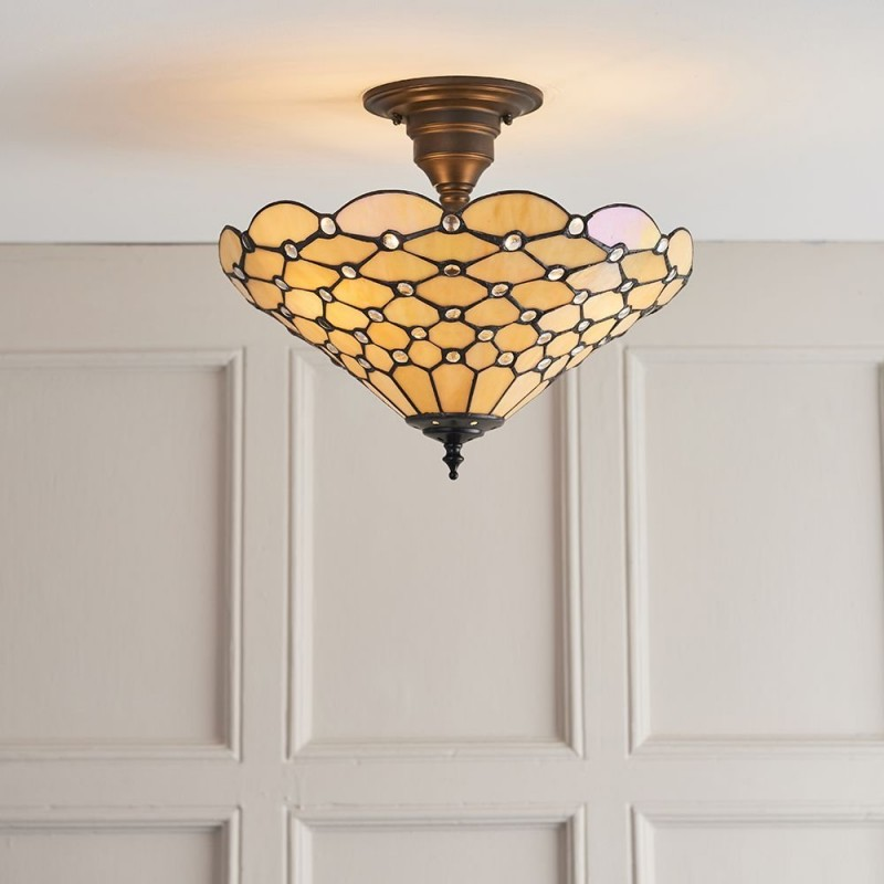 Interiors1900-64300 - Pearl - Tiffany Glass & Dark Bronze Semi Flush