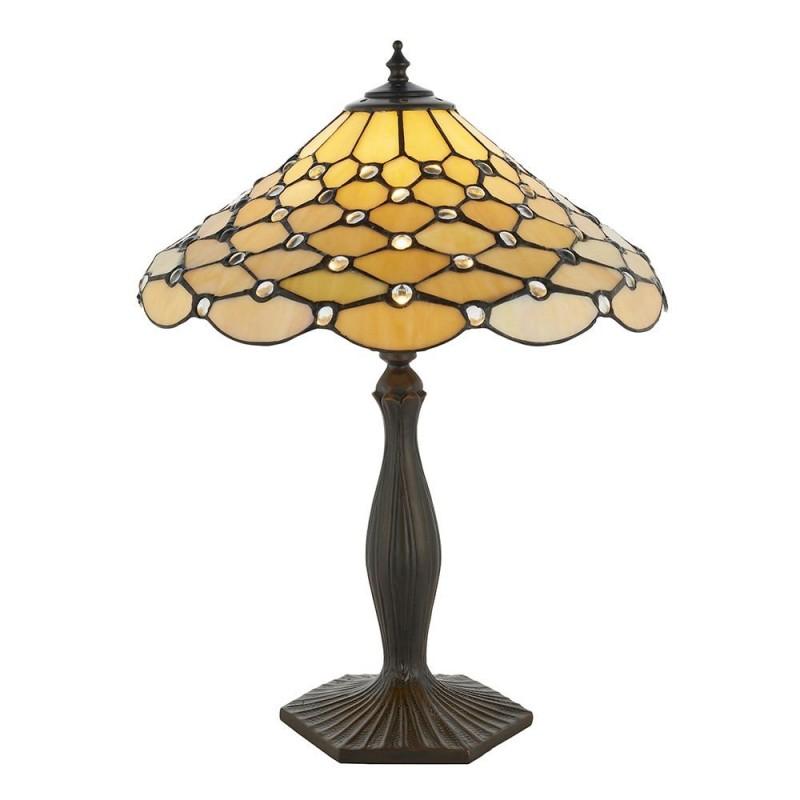 Interiors1900-64301 - Pearl - Tiffany Glass & Dark Bronze Table Lamp
