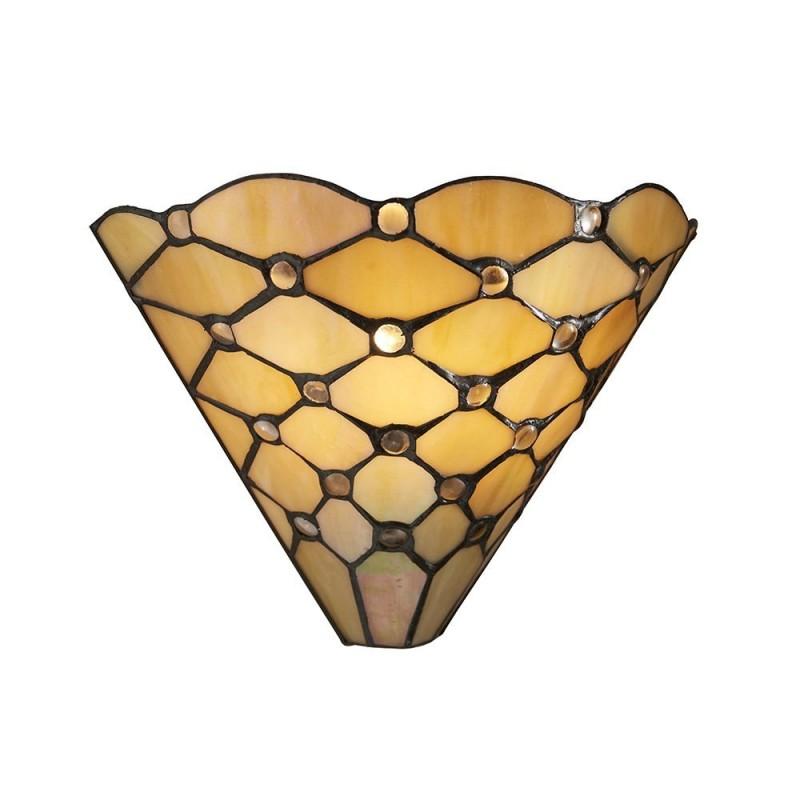 Interiors1900-64302 - Pearl - Tiffany Glass & Black Wall Lamp
