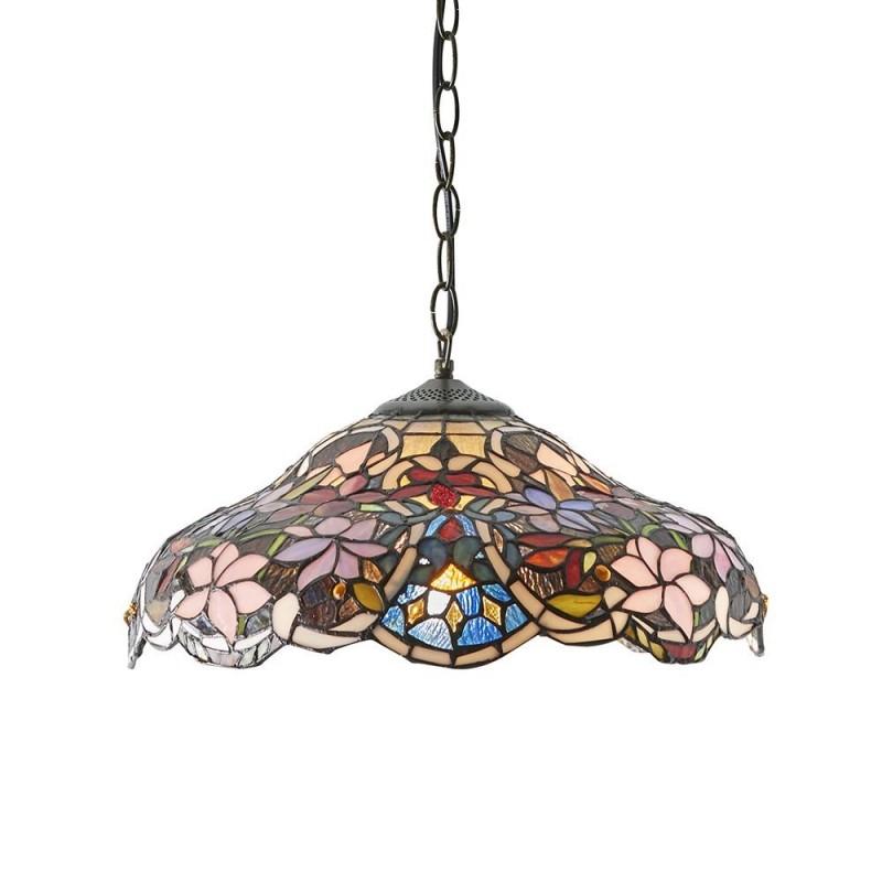 Interiors1900-64325 - Sullivan - Tiffany Glass & Dark Bronze Medium Pendant