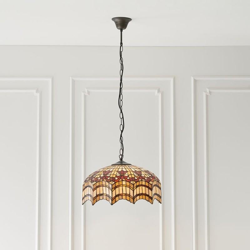 Interiors1900-64375 - Vesta - Tiffany Glass & Dark Bronze Pendant