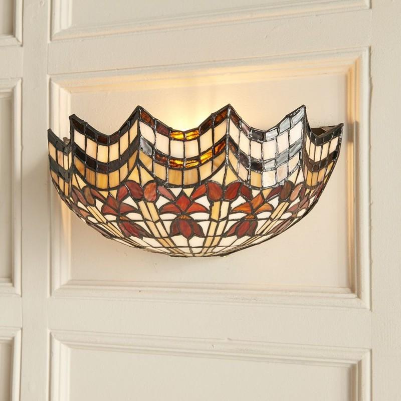 Interiors1900-64378 - Vesta - Tiffany Glass & Matt Black Wall Lamp