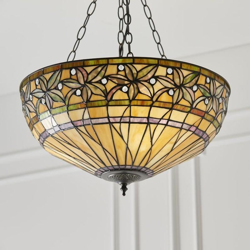 Interiors1900-66401 - Ashtead - Tiffany Glass & Dark Bronze 3 Light Pendant
