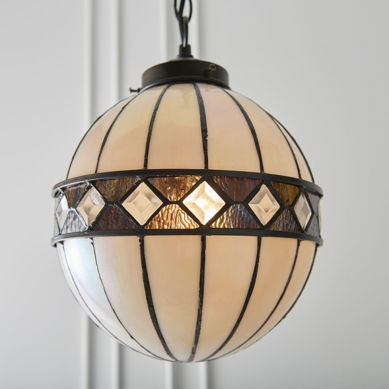 Interiors1900-67044 - Fargo - Tiffany Glass & Dark Bronze Small Pendant