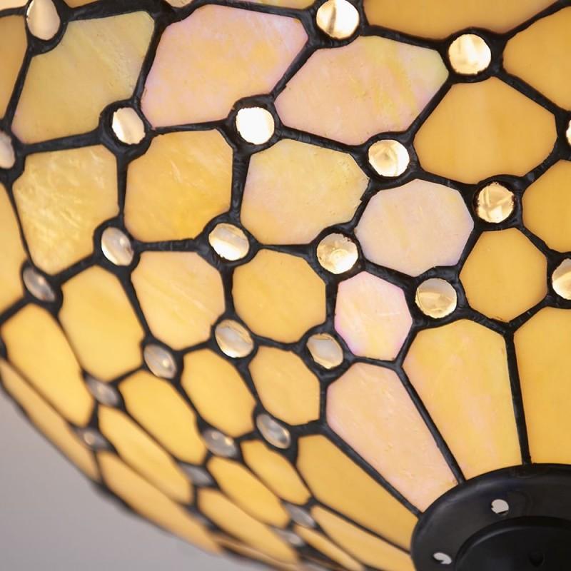Interiors1900-70242 - Pearl - Tiffany Glass & Dark Bronze Flush