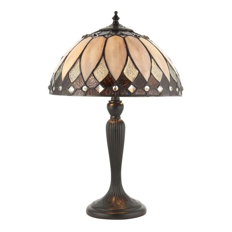 Interiors1900-70366 - Brooklyn - Tiffany Glass & Dark Bronze Small Table Lamp