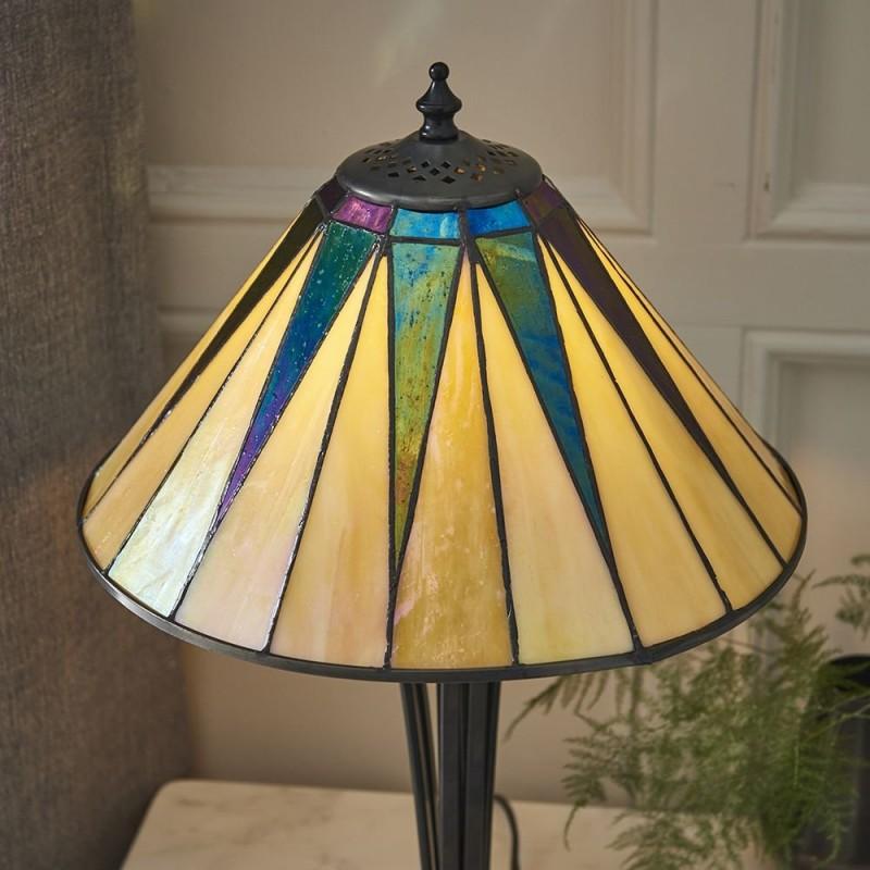 Interiors1900-70367 - Dark Star - Tiffany Glass & Black Small Table Lamp