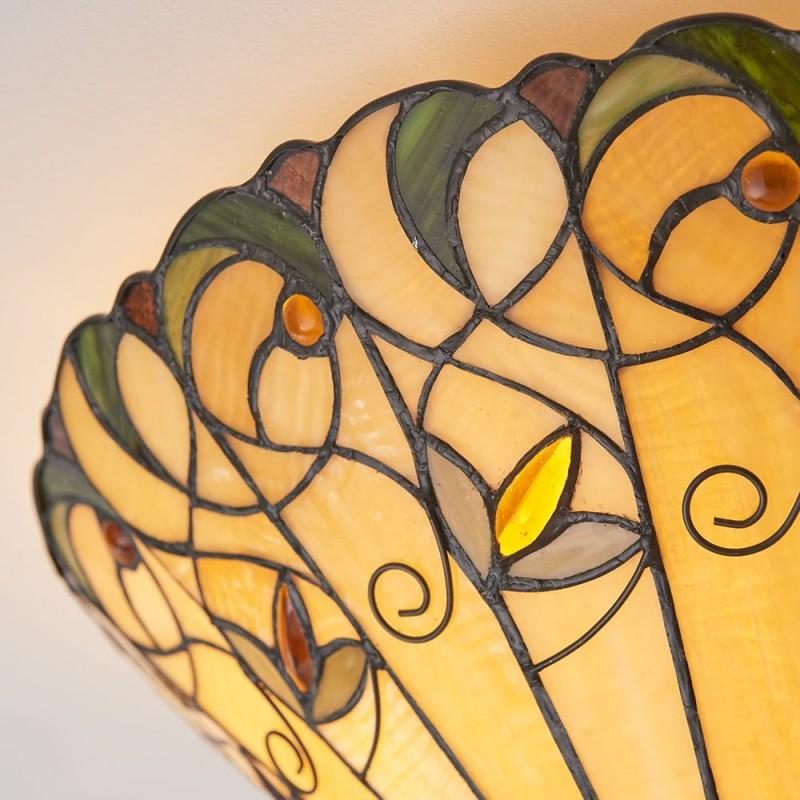 Interiors1900-70704 - Jamelia - Tiffany Glass & Dark Bronze Medium Flush