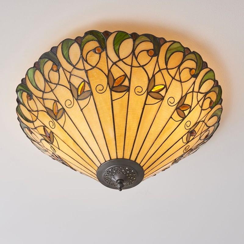 Interiors1900-70706 - Jamelia - Tiffany Glass & Dark Bronze Large Flush