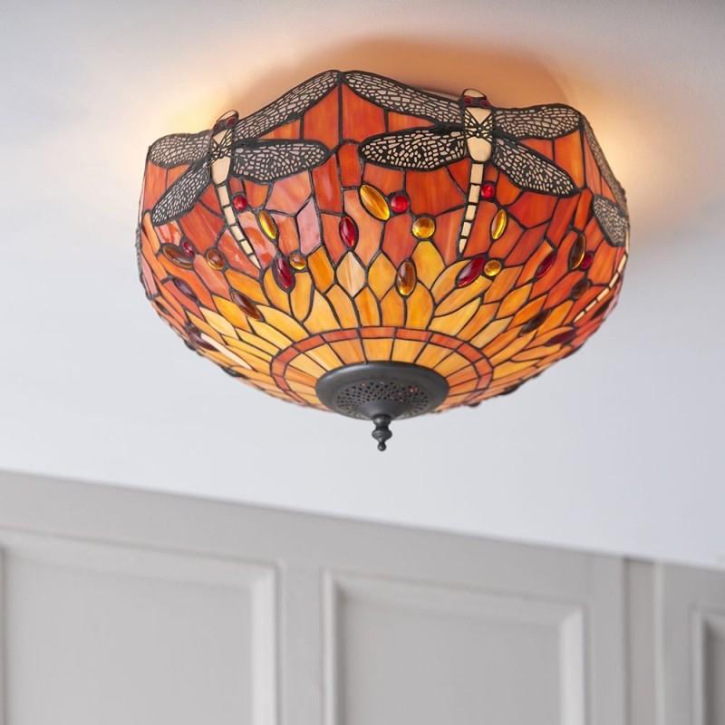 Interiors1900-70721 - Dragonfly Flame - Tiffany Glass & Dark Bronze Flush
