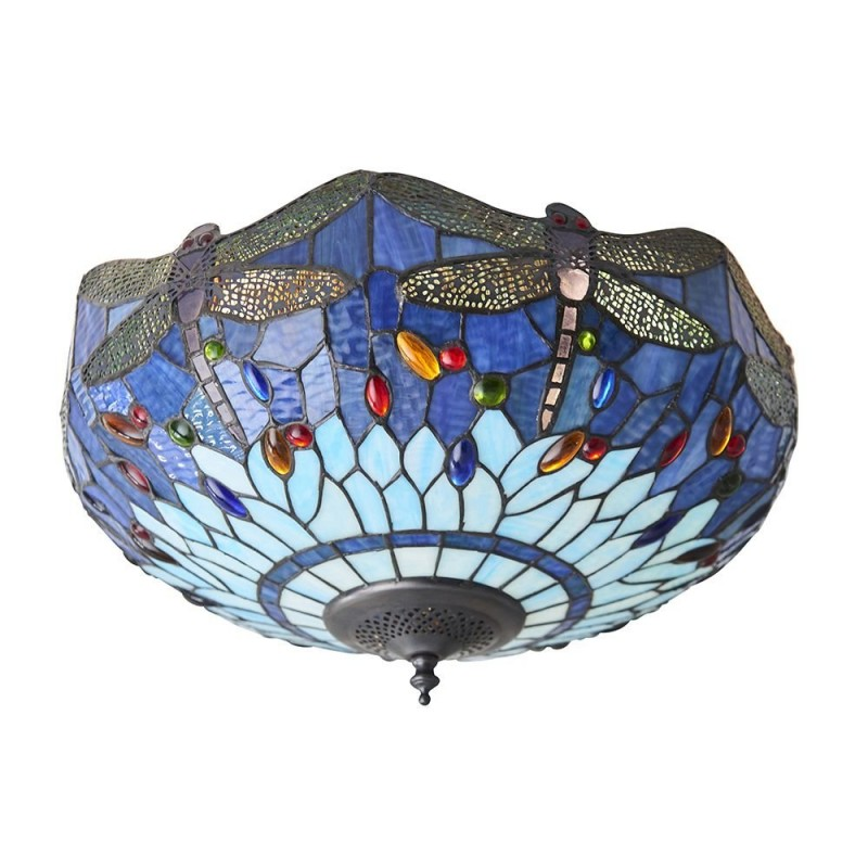 Interiors1900-70722 - Dragonfly - Tiffany Glass & Dark Bronze Flush