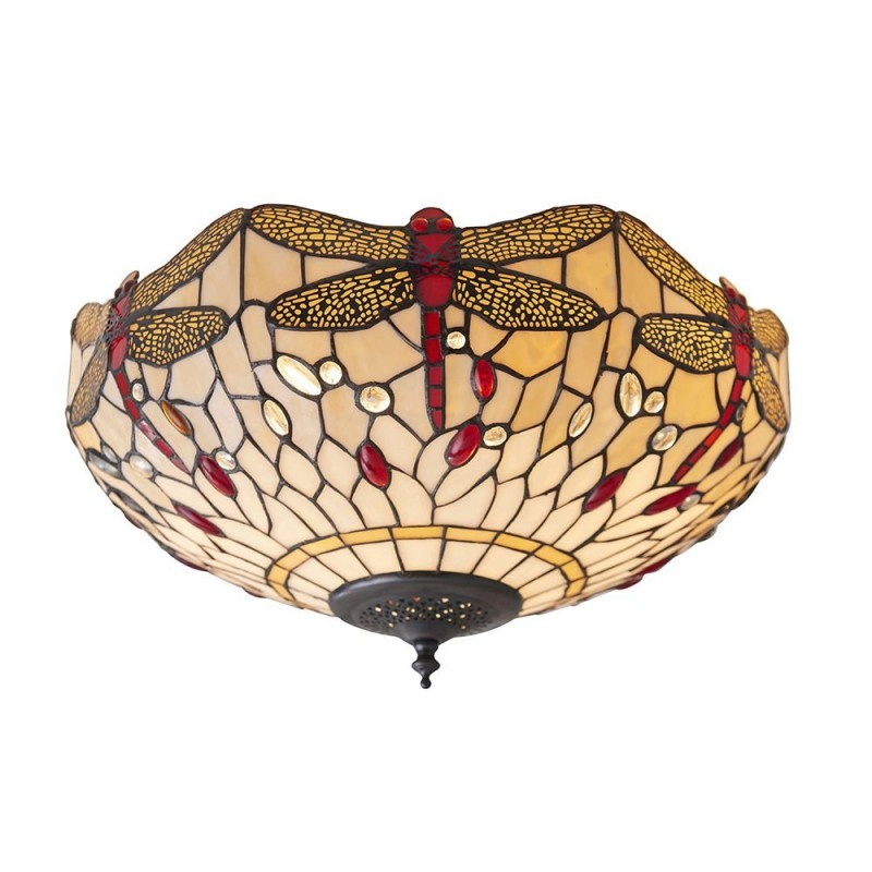 Interiors1900-70723 - Dragonfly Beige - Tiffany Glass & Dark Bronze Flush