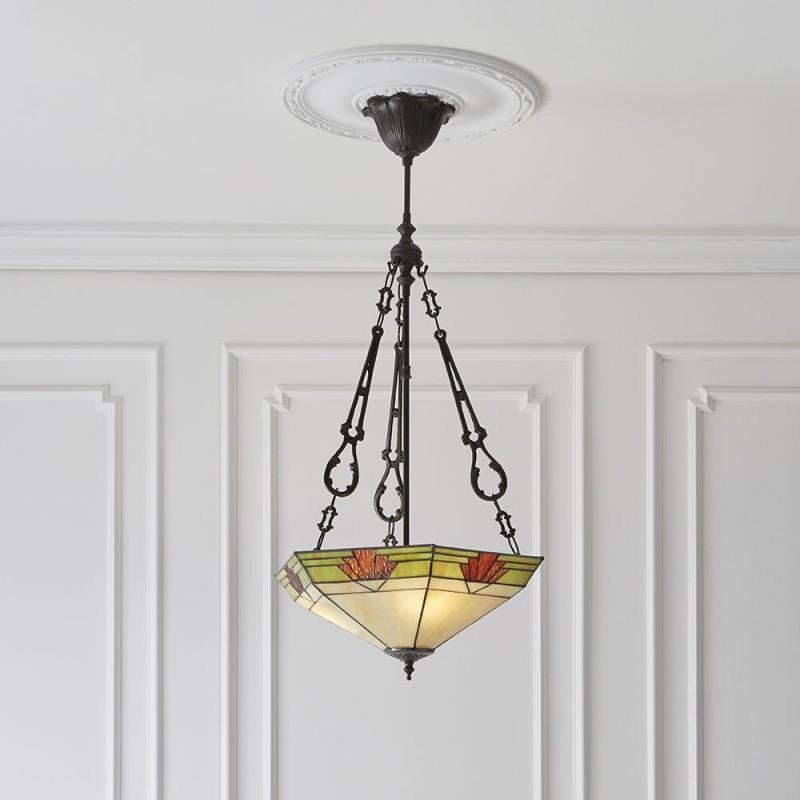 Interiors1900-70739 - Nevada - Tiffany Glass & Dark Bronze 3 Light Pendant