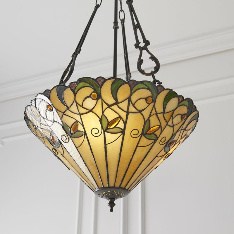 Interiors1900-70741 - Jamelia - Tiffany Glass & Dark Bronze 3 Light Pendant