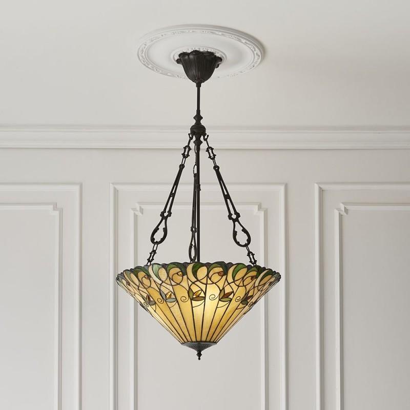 Interiors1900-70742 - Jamelia - Tiffany Glass & Dark Bronze Large Pendant