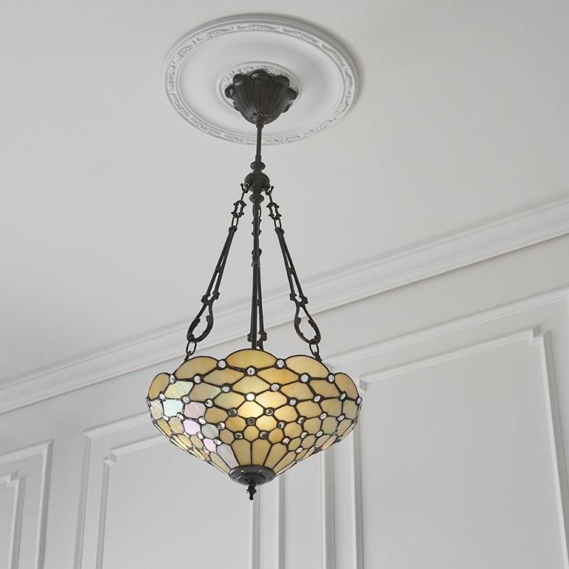 Interiors1900-70743 - Pearl - Tiffany Glass & Dark Bronze 3 Light Pendant