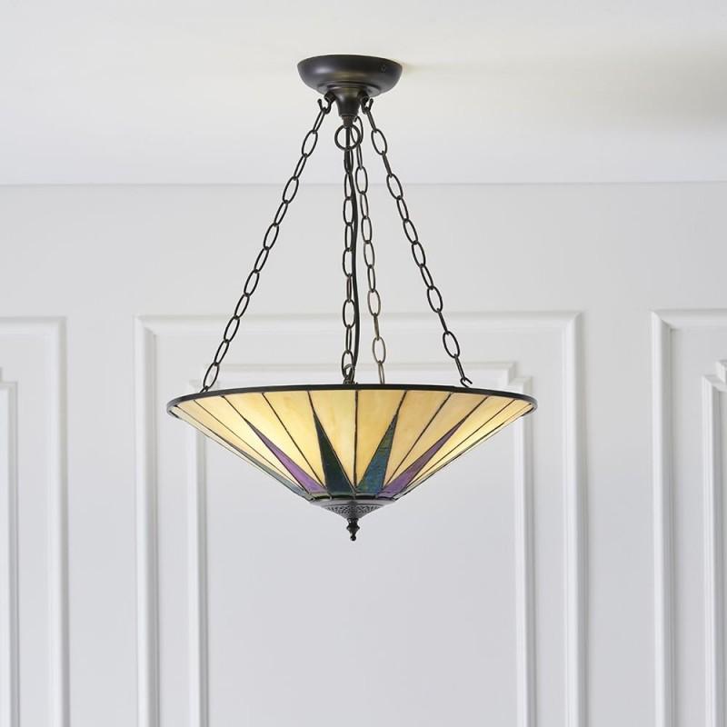 Interiors1900-70754 - Dark Star - Tiffany Glass & Dark Bronze 3 Light Pendant