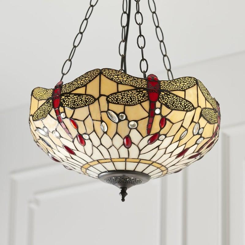 Interiors1900-70759 - Dragonfly Beige - Tiffany Glass & Dark Bronze Pendant
