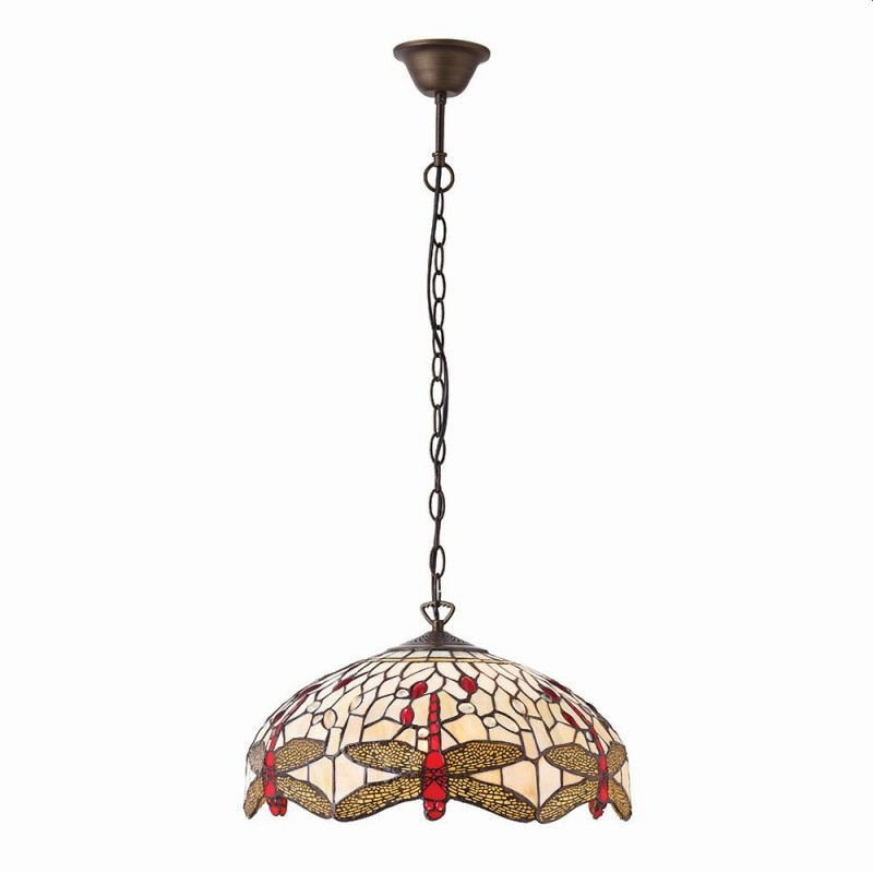 Interiors1900-70824 - Dragonfly Beige - Tiffany Glass & Dark Bronze Pendant