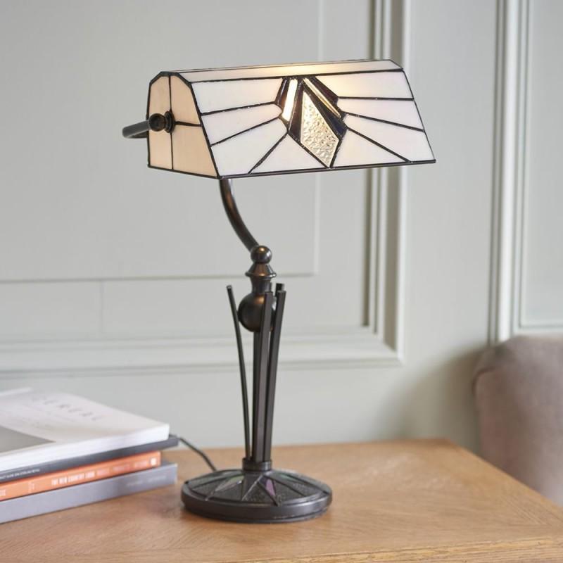 Interiors1900-70909 - Astoria - Tiffany Glass & Black Bankers Table Lamp