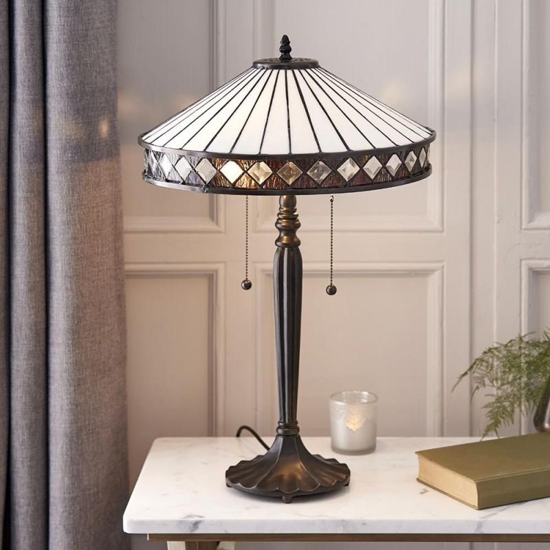 Interiors1900-70935 - Fargo - Tiffany Glass & Dark Bronze 2 Light Table Lamp