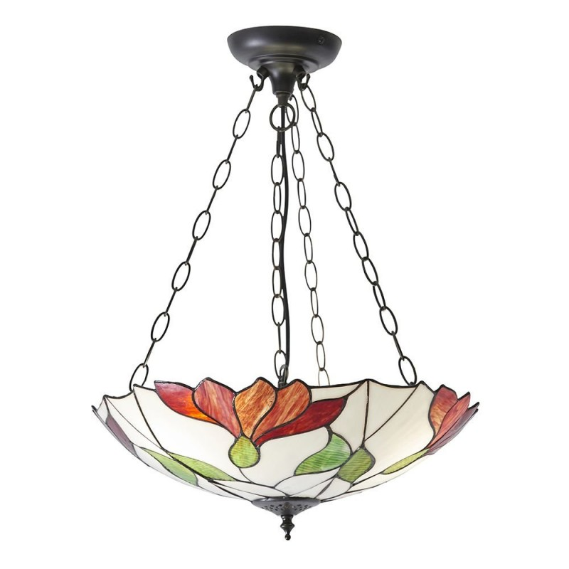 Interiors1900-70946 - Botanica - Tiffany Glass & Dark Bronze 3 Light Pendant