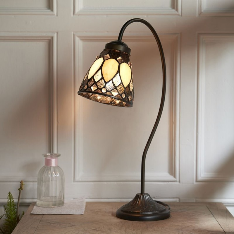 Interiors1900-74349 - Brooklyn - Tiffany Glass & Bronze Swan Neck Table Lamp