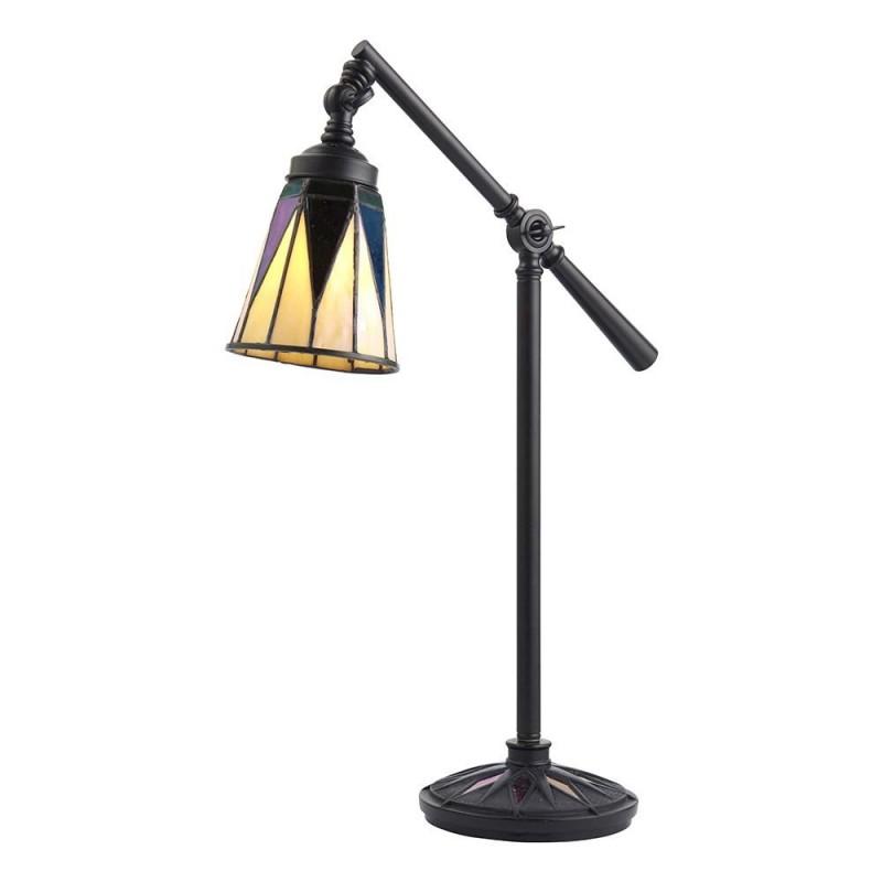 Interiors1900-74354 - Dark Star - Tiffany Glass & Black Desk Lamp