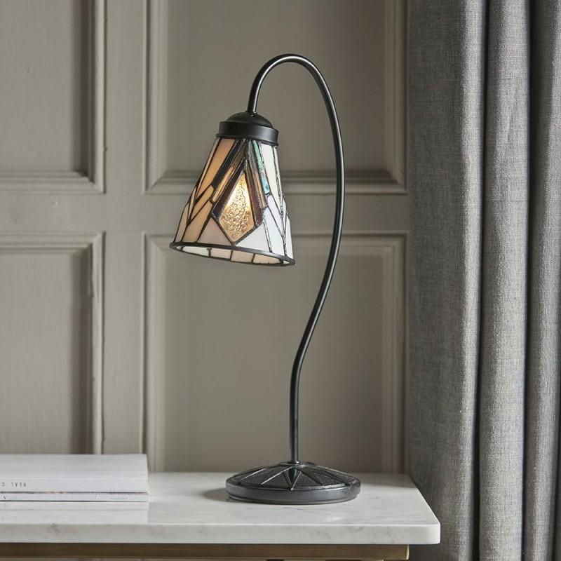 Interiors1900-74364 - Astoria - Tiffany Glass & Dark Bronze Swan Neck Table Lamp