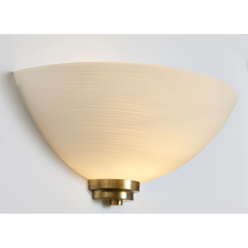Endon-WELLES-1WBAB - Welles - White Glass with Antique Brass Wall Lamp