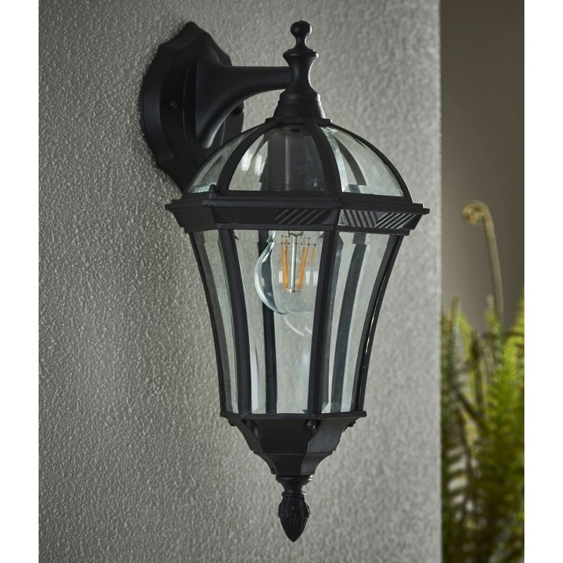Endon-YG-3501 - Drayton - Black with Glass Downlight Lantern Wall Lamp