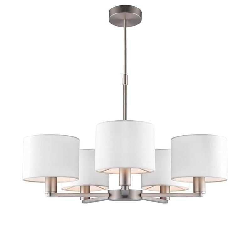 Endon-60257 - Daley - White Shade & Nickel 5 Light Centre Fitting