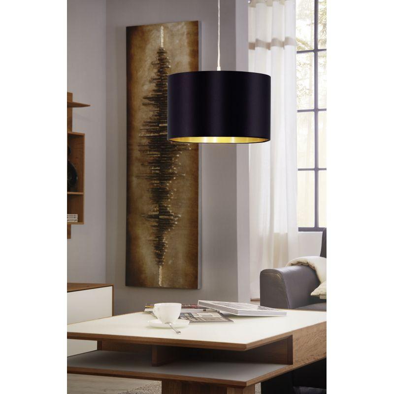 Eglo-31599 - Maserlo - Black & Gold with Nickel Single Pendant