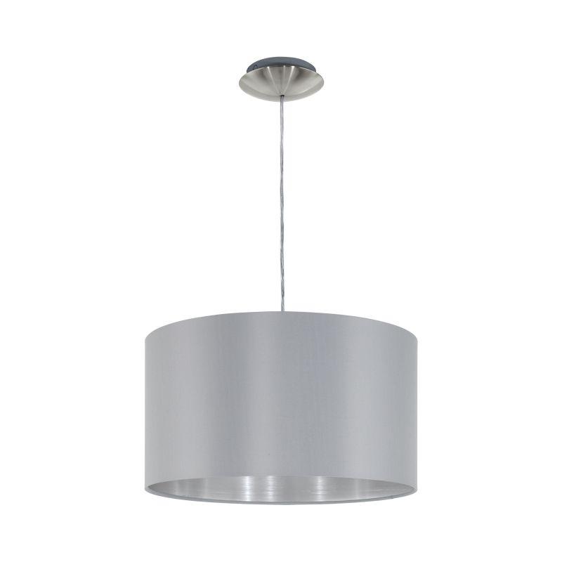 Eglo-31601 - Maserlo - Grey & Silver with Nickel Single Pendant