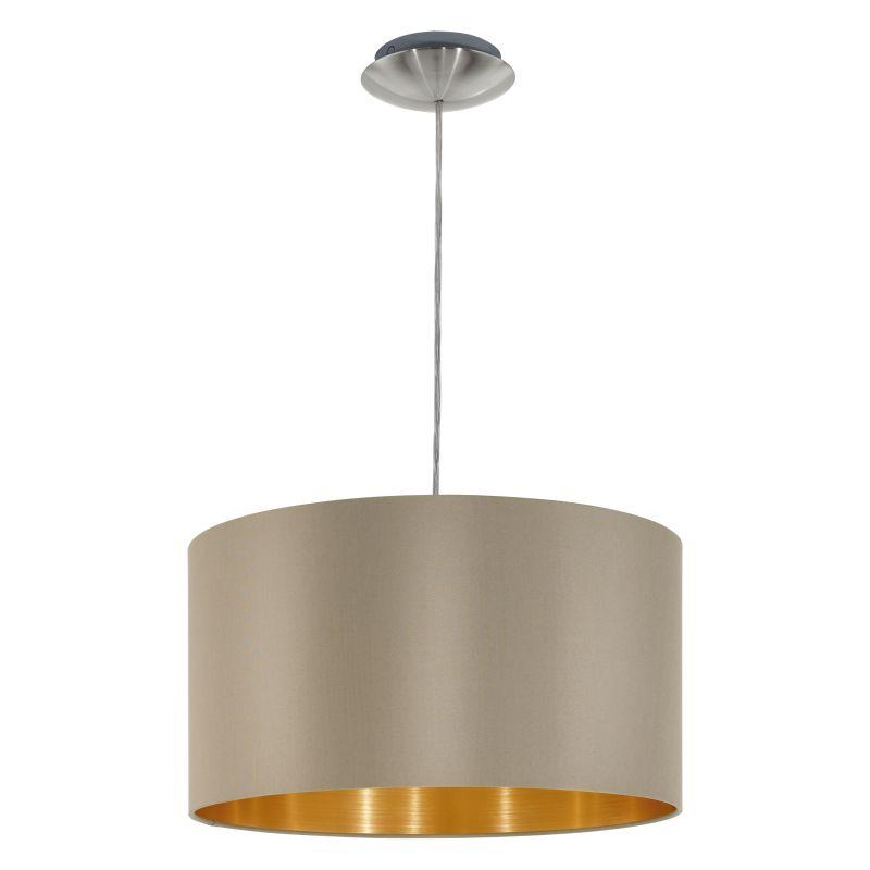 Eglo-31602 - Maserlo - Taupe & Gold with Nickel Single Pendant