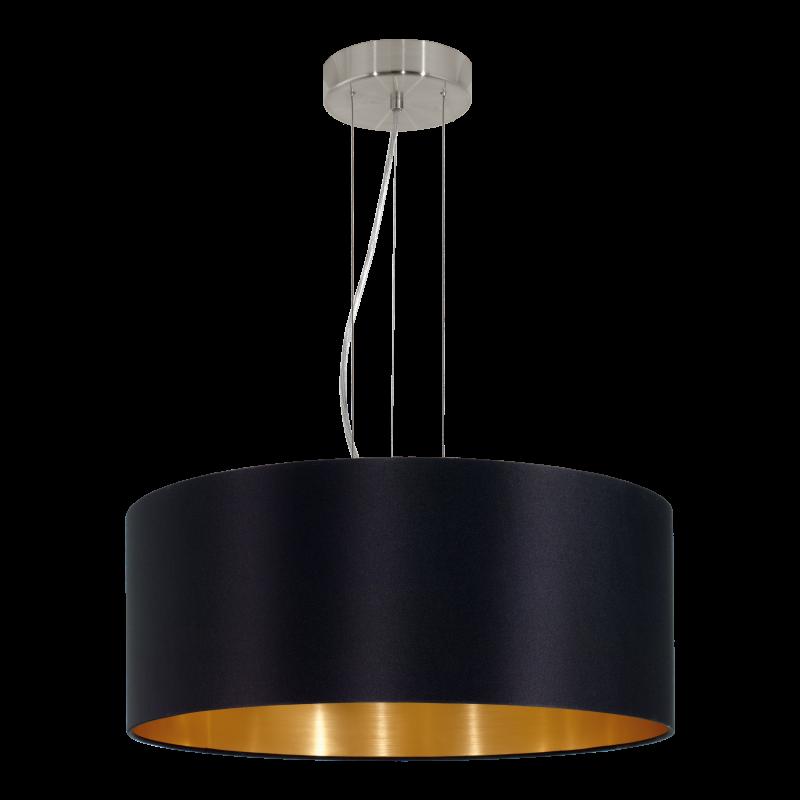 Eglo-31605 - Maserlo - Black & Gold with Nickel 3 Light Pendant