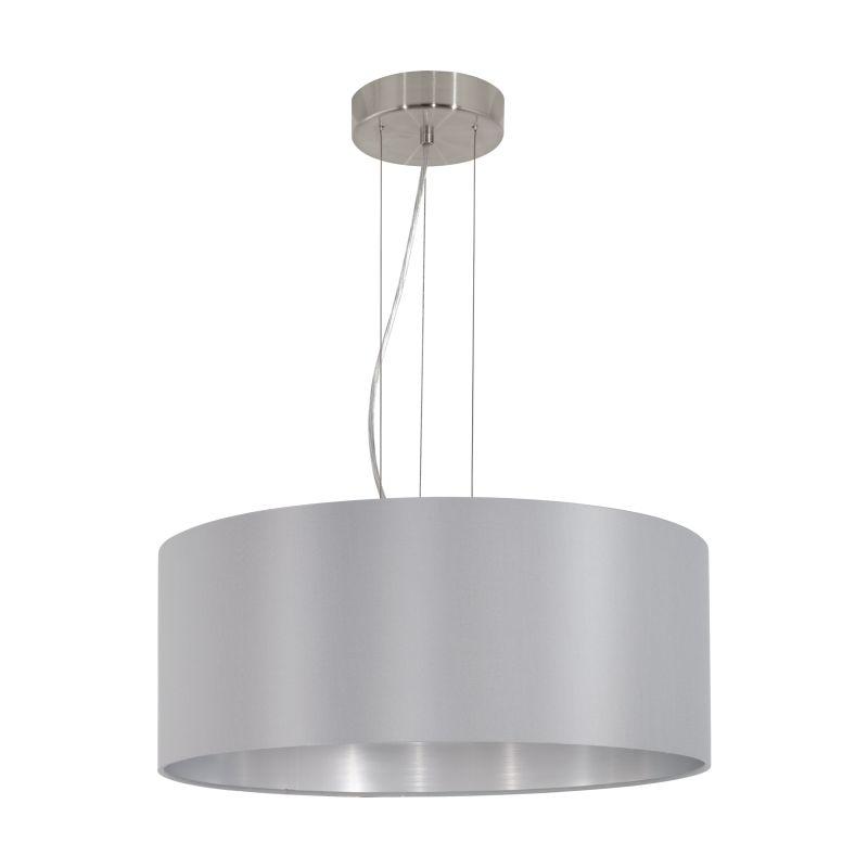Eglo-31606 - Maserlo - Grey & Silver with Nickel 3 Light Pendant