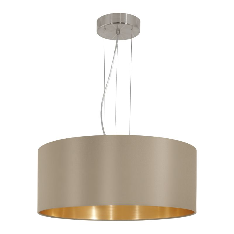 Eglo-31607 - Maserlo - Taupe & Gold with Nickel 3 Light Pendant