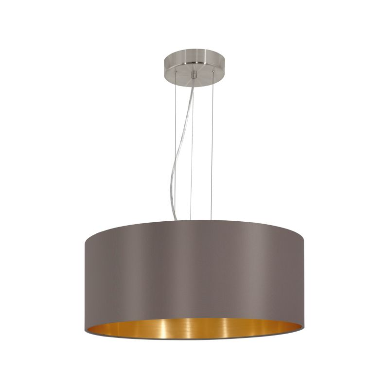 Eglo-31608 - Maserlo - Cappucino & Gold with Nickel 3 Light Pendant