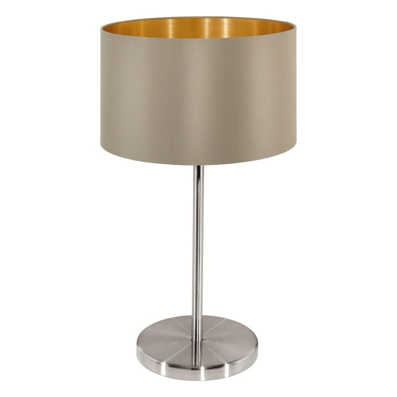 Eglo-31629 - Maserlo - Taupe & Gold with Nickel Table Lamp