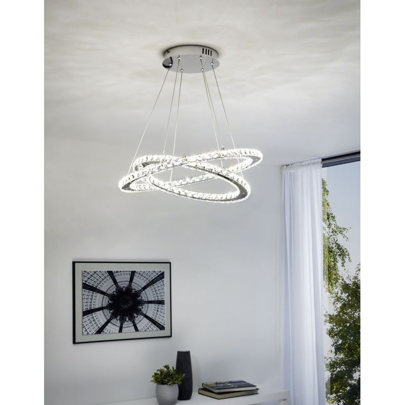 Eglo-31667 - Varrazo - LED Crystal with Chrome 2 Rings Pendant