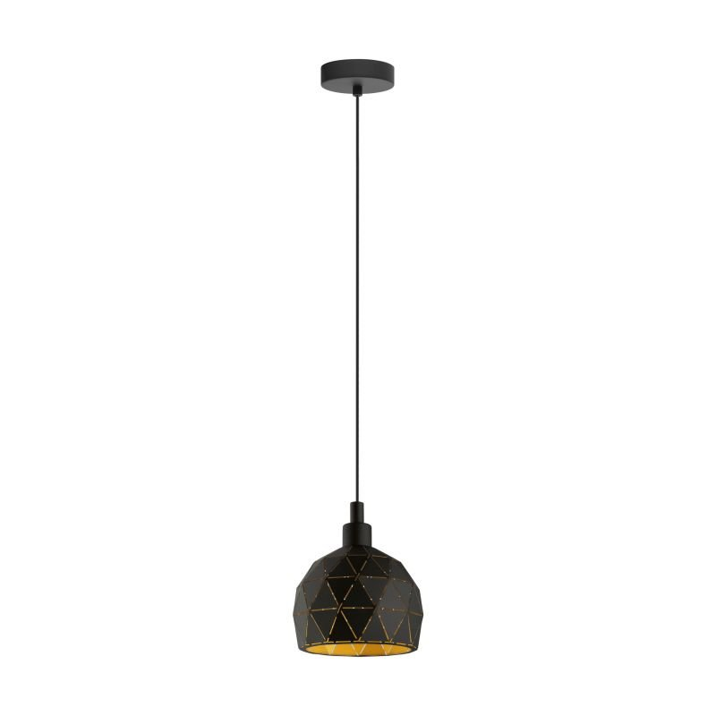 Eglo-33345 - Roccaforte - Black and Gold Small Single Pendant